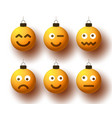 set realistic christmas yellow balls with cute vector image