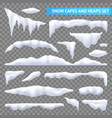 snow capes and piles transparent set vector image vector image
