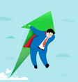 super businessman flying with arrow growth and vector image
