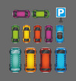 top view of numerous cars and buses at parking vector image