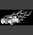 vintage car hot rod in black background vector image vector image