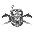 vintage monochrome angry gorilla diver head vector image vector image