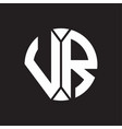 vr logo monogram with piece circle ribbon style vector image vector image