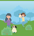 women with dogs playing park pet care vector image
