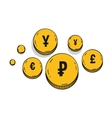 Currency symbols golden coins icons Isolated on a vector image