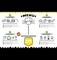 hand drawn menu for cafe with food template vector image