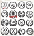 90 years anniversary laurel wreaths vector image vector image