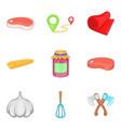 beef tenderloin icons set cartoon style vector image vector image