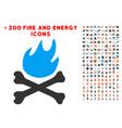 bones hell fire icon with bonus fire set vector image vector image