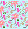bright doodle pink flowers summer pattern vector image vector image