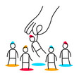 business of employer hand choose man from group vector image vector image