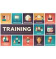 business training - flat design icons set vector image