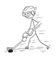 cartoon drawing of ice hockey player vector image vector image