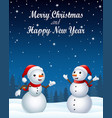 christmas background with two snowman vector image