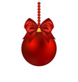 christmas ball with bow on a white vector image vector image