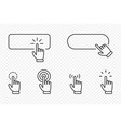 click cursor pointer icon set with blank button vector image vector image