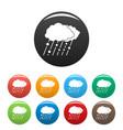 cloud rain snow icons set color vector image vector image