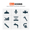 construction icons set with water crane calipers vector image vector image