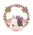 cow cartoon with bowtie design vector image vector image