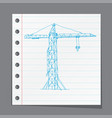 crane working doodle style vector image vector image