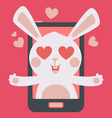 Cute Bunny Crazy in Love Inside Phone vector image vector image