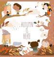 cute cartoon children having fun in autumn forest vector image