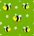 cute seamless pattern with cartoon bumble bees vector image