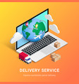 delivery service isometric design laptop vector image