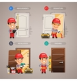 Door Installation Step by Step with Handyman vector image vector image