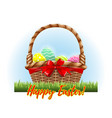 easter color eggs in wooden traditional basket vector image