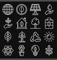 ecology icons set on black background line style vector image vector image