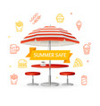 fastfood and street food concept witch parasol vector image