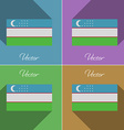 Flags Uzbekistan Set of colors flat design and vector image