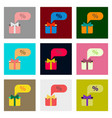 Flat assembly icons of gift box discount