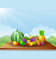 fresh fruits on table vector image