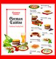 german cuisine healthy food menu vector image vector image