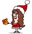 girl santa with present cartoon vector image vector image