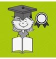 girl student book cap vector image vector image