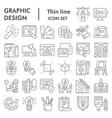 graphic design thin line icon set art tools vector image vector image