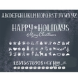 Holiday decorations and alphabet on a blackboard vector image vector image