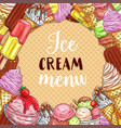 ice cream menu sketch poster on waffle texture vector image vector image