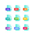 icons for expanding formats file icons flat icons vector image vector image