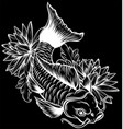 koi carp fish in lotus water lily flowers vector image