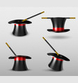 magician hat and magic wand for circus show vector image