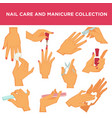 manicure nail design or had care collection vector image vector image