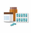 medicine pills capsules and bottles vector image vector image