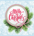 merry christmas lettering in circle rope frame vector image