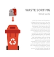 Metal waste sorting flat concept vector image vector image