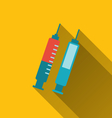 modern flat icons of syringes with long shadows - vector image vector image