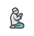 muslim prayer pray icon cartoon vector image vector image